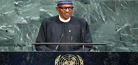 Buhari at UN [Photo credit: Channels TV]