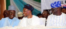 Kwara State Governor, Dr. Abdulfatah Ahmed, Governor, State of Osun, Ogbeni Rauf Aregbesola and Secretary, Committee on True Federalism, Senator Olubunmi Adekunmbi during North Central Zonal Public Meeting of True Federalism at State Banquet Hall, Ilorin....Monday