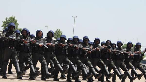 Nigerian Police Marching. [Photo credit: Pulse.ng]