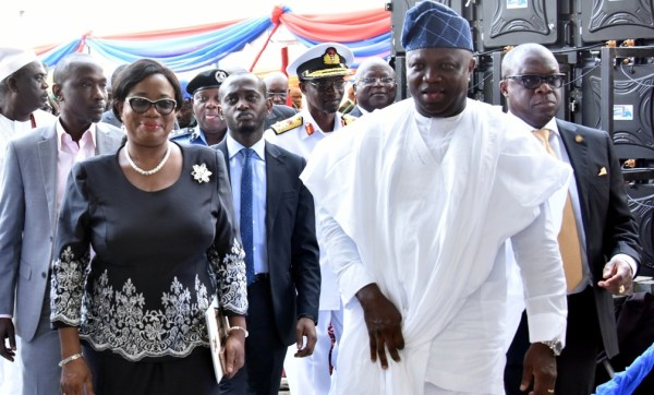 Lagos State Governor, Mr. Akinwunmi Ambode (2nd right); Attorney General & Commissioner for Justice, Mr. Adeniji Kazeem (right); Acting Chief Judge of Lagos State, Justice Opeyemi Oke (2nd left) and member, Lagos State House of Assembly, Hon. Sola Giwa (left) during the commissioning of the Lagos State DNA and Forensic Centre, Lagos Island, on Wednesday, September 27, 2017.
