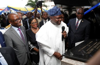 Lagos State Governor, Mr. Akinwunmi Ambode (middle); Attorney General & Commissioner for Justice, Mr. Adeniji Kazeem (2nd right); Acting Chief Judge of Lagos State, Justice Opeyemi Oke (2nd left) and Managing Consultant, Lagos State DNA and Forensic Centre, Dr. Richard Somiari (left) during the commissioning of the Lagos State DNA and Forensic Centre, Lagos Island, on Wednesday, September 27, 2017.