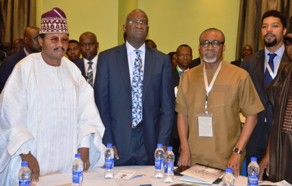 From Left: Chairman, Editorial Board, Guardian, Prof. Wale Omomle; Minister of Power, Works and Housing, Mr Babatunde Fashola; Chairman, Senate Committee on Power, Sen Enyinnaya Abaribe and Executive Director of the Guardian, Toke Ibru at the Guardian Power Summit 2017 in Lagos on Thursday (14/9/17). 04916/14/9/17/Babatunde Atolagbe/JAU/ICE/NAN