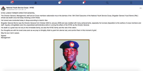 NYSC announcement on Brigadier Gen Yusuf Bomoi's death