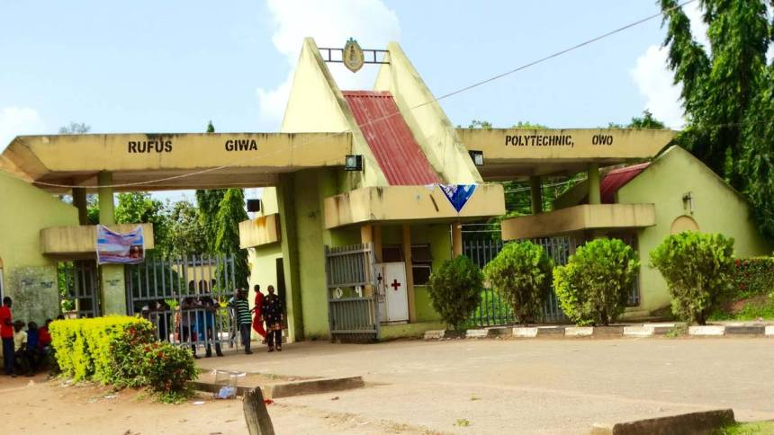 The main gate of the Rufus Giwa Polytechnic Owo (RUGIPO) in Ondo state