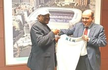 Managing Director of Real Madrid Foundation , Julio Gonzalez presented a crested jersey to the Rivers State Governor, Nyesom Ezenwo Wike after a meeting between Real Madrid Foundation and Rivers State Government  on the setting up of a Real Madrid Academy in Rivers State on Tuesday.