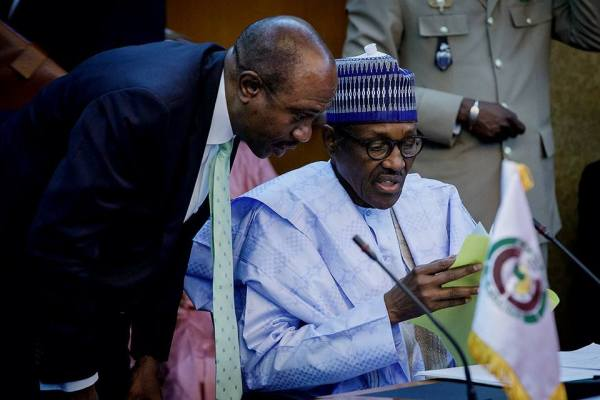 President Buhari with CBN Governor Godwin Emefiele [Photo Credit: Aso Rock - Facebook]