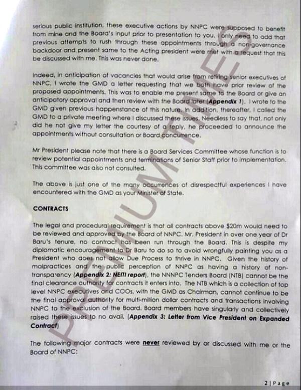 Kachikwu's Letter to PMB-2