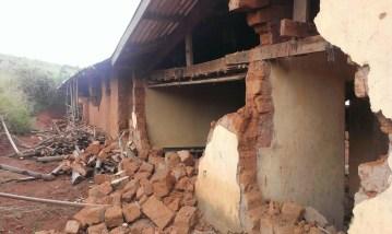 A building razed down in the Mambilla-Plateau attack