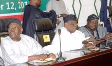 L-R: Former Interim National Chairman of the All Progressives Congress, Chief Bisi Akande; a former Governor of Ogun State, Aremo Segun Osoba; and a former Governor of Osun State, Chief Olagunsoye Oyinlola,  during the APC Southwest stakeholders' meeting, held at the Governor's Office, Ibadan... on Thursday. Photo: Oyo State Governor's Office
