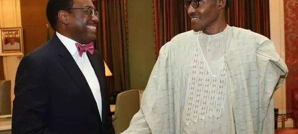 President Muhammadu Buhari and Akinwunmi Adesina