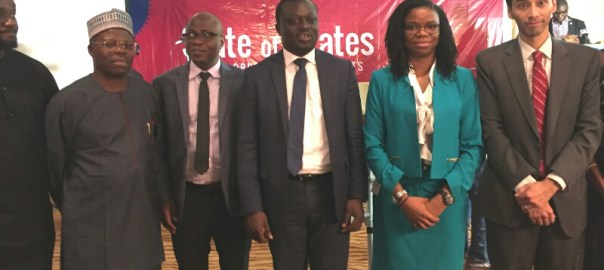 From Right: Representative of Bill and Melinda Gates Foundation,  Vishal Gujadhur,  Executive Secretary, Nigeria Investment Promotion Council, Yewande Sadiku and Budgit's lead partner Oluseun Onigbinde during the launch of state of states report in Abuja on Thursday.