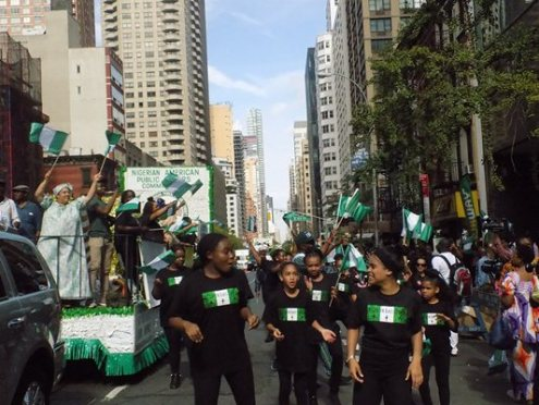 File photo of Nigerians at the nation's independence day parade in New York. [Photo credit: NAN]