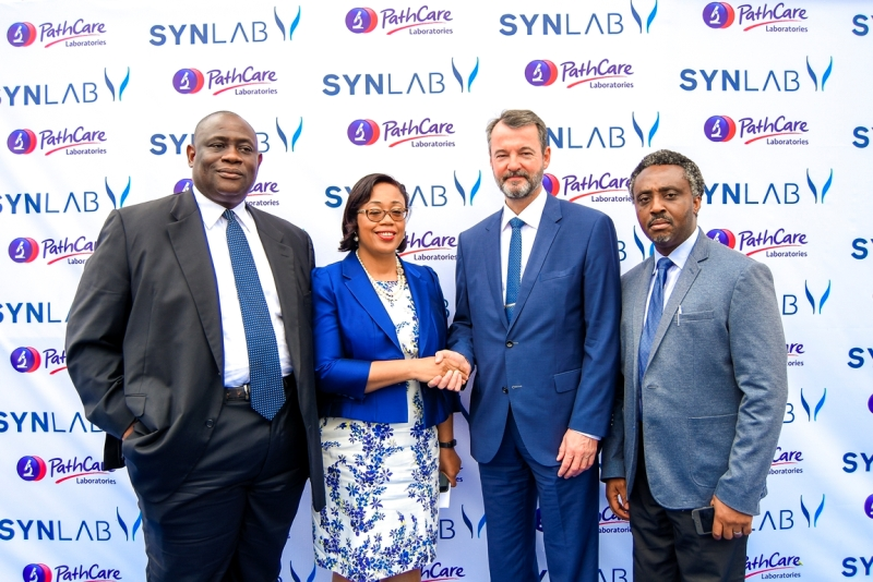 L-R: Chairman, PathCare Nigeria, Dr. Richard Ajayi; Managing Director, PathCare Nigeria, Dr. Pamela Ajayi; CEO, Synlab Emerging Markets, Thomas Degott; Executive Director, Operations - PathCare Nigeria, Dr. Tolu Adewole at the Press Conference announcing SYNLAB's major acquisition of majority stake in Pathcare Nigeria.