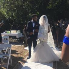 The bride, Adesua Etomi being led down the aisle