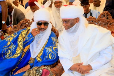Former Vice President and Waziri Adamawa, Atiku Abubakar and Emir of Kano, Alh. Muhammadu Sanusi II, at the formal commissioning of Pulaaku Radio Station in Yola, Adamawa State, at the weekend.