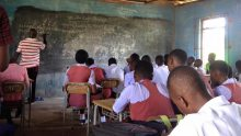 A classroom with students
