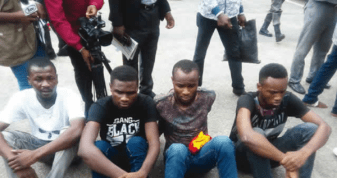 Joel Kantiok, Burna Boy's road manager and three other suspects Balogun Ademola, Obina Igwe, and Tunmise Omotore arrested in relation with Mr. 2Kays robbery.