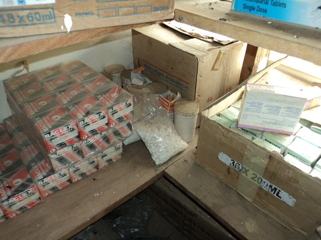 Expired drugs on the shelves at the centre