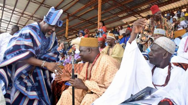 Senator Dino Melaye greets traditional rulers during the Kabba Day celebration