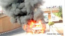 New Prado SUV burns down in Abuja