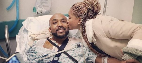 Banky W's fiancee, Adesua Etomi,kisses him on the cheek as he recounts his fight with skin cancer