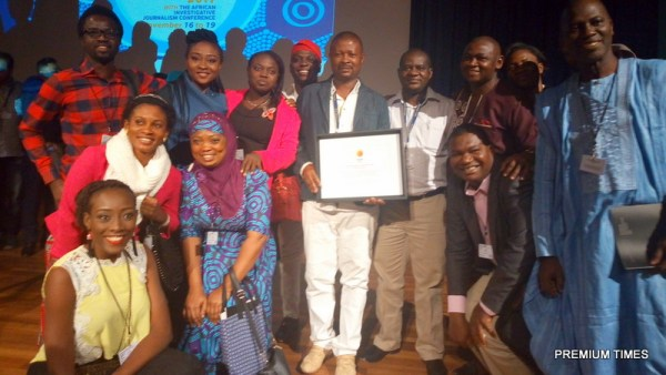 Emmanuel Mayah, Musikilu Mojeed (centre) with a cross-section of Nigerian journalists at the just concluded GIJC 2017