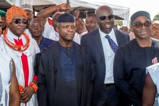 From Left: Oba Ewuare II, the Oba of Benin, VP Osinbajo and Gov Obaseki