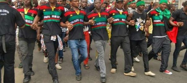 File photo of IPOB members demonstrate[Photo credit: NAN]