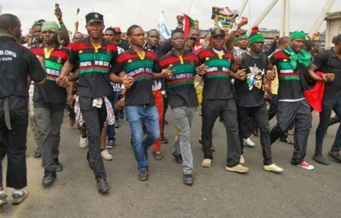 File photo of IPOB members demonstrate[Photo credit: NAN]