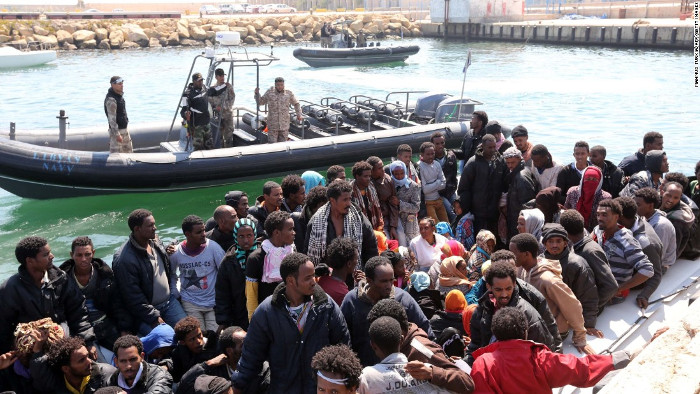 Migrants in Libya hoping to cross to Europe
