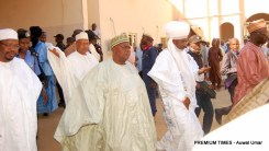 Arrival of Sen. Muhammad Danjuma Goje middle and other important personalities at the funeral prayers of late Hajiya Fatima Yelwa Goje. DATE: 9th November, 2017
