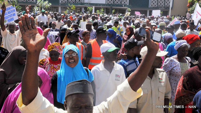 Pic.13. NUT protests over sacked teachers in Kaduna