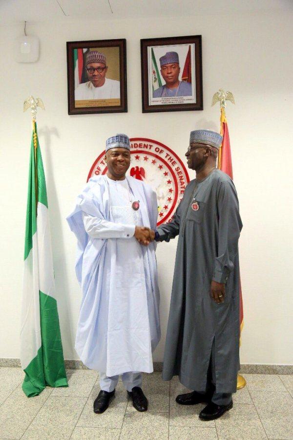Senate President Bukola Saraki and SGF Boss Mustapha 2