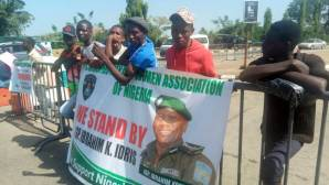 Protesters in support of Police Chief, Ibrahim Idris