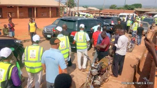 Governor Obiano leaving the polling unit @ eri primary sch 004 otuocha ward 1
