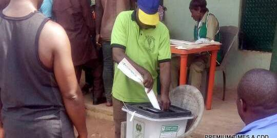 Voting and accreditation in progress @ CPS 1 ward 003. Voters turned out enmass to exercise their franchise. The PO, APO's and all INEC official are working happily
