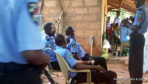 The supposed security men, relaxing under mango tree while the electoral process is ongoing at Polling unit 013,014, and 015 Ndiakwu otolo ward one