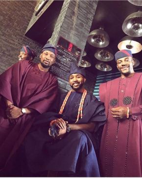 Banky W sits for a photo with Dotun [left] and Ebuka [right]