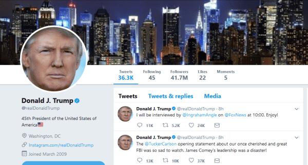Screenshot of Donald Trump's Twitter page