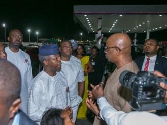 Vice President Yemi Osinbajo with Dapo Abiodun, owner of Heyden Petroleum during the visit