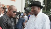 Former President Goodluck Jonathan and Rivers State Governor, Nyesom Ezenwo Wike at theGovernment House Port Harcourt on Sunday.