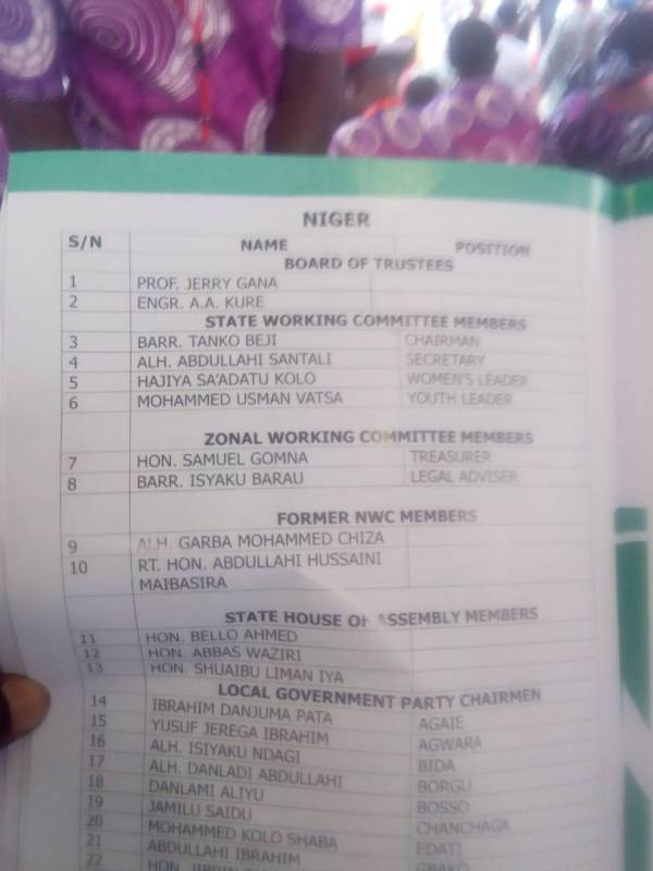 Late Niger State governor Kure listed amongst delegates at the PDP convention.