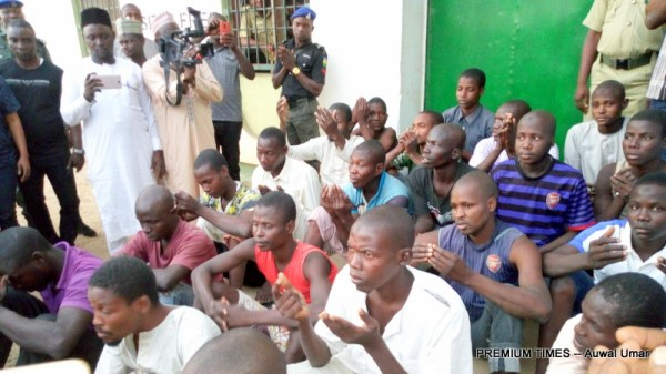 Some of the inmates that were freed (Photo taken by Auwal Umar, 12/30/2017)
