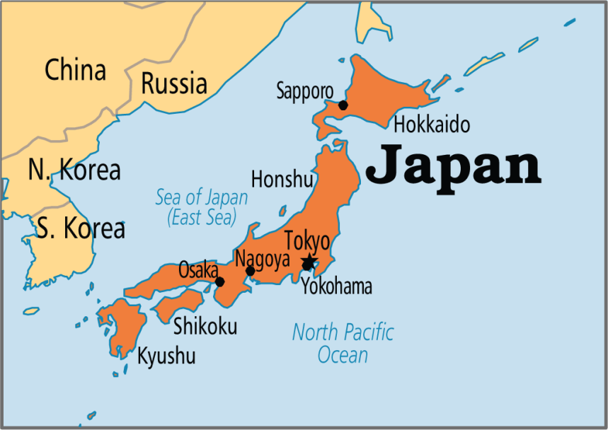 Japan on map