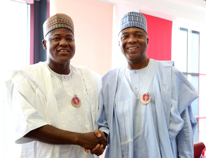 Speaker, House of Representatives, Rt. Hon. Yakubu Dogara congratulating Senate President, Sen. Bukola Saraki on his Birthday celebration at the National Assembly on Tuesday 19th December, 2017. Photos : Speaker's Media Office.