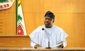 Lagos State Governor, Mr. Akinwunmi Ambode (right), delivering his speech during the presentation of the Y2018 Budget Estimates to the House, at the Assembly Complex, Alausa, Ikeja, on Monday, December 11, 2017.