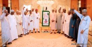 President Muhammadu Buhari (7th r) Chief of Staff, Alhaji Abba Kyari (7th l) Permanent State House, Mr Jalal Arabi (3rd l) and other Personal Aids of the President during the 75th Birthday Celebration of President Buhari at the Presidntial Villa in Abuja on Sunday (17/12/17) 06848/16/12/2017/Callistus Ewelike/NAN