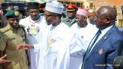From Left: Kano State Comptroller of Prison, Mr Aliyu Achu; Minister of Interior, retired Lt.-Gen Abdulrahman Dambazau; President Muhammadu Buhari and Gov Abdullahi Ganduji of Kano during the visit of the President to Kurmawa Prisons where he released 500 inmates to mark his 2-Day State Visit to Kano on Wednesday (6/12/17) 06555/6/12/2017/Callistus Ewelike/NAN