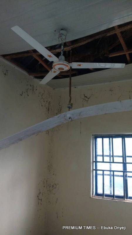 Shattered roofs of Gbaye PHC already occupied by bats.