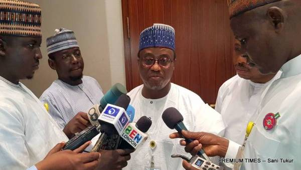 Former GMD of NNPC, Maikanti Baru in a brief interview with State House Correspondents today (Photo taken by Sani Tukur, 29/12/2017)